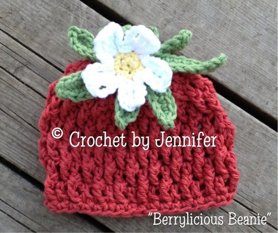 Crochet Pattern for Strawberry Berrylicious Beanie Hat - 6 sizes, baby to adult - Welcome to sell finished items
