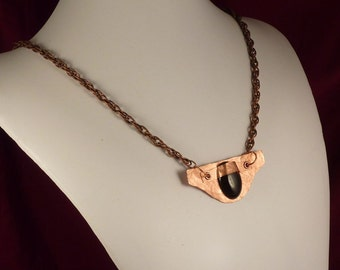 Geometric Copper and Onyx Amulet Necklace - good luck talisman statement necklace with stone