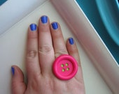 Button Ring: Bright Pink & Green - Adjustable