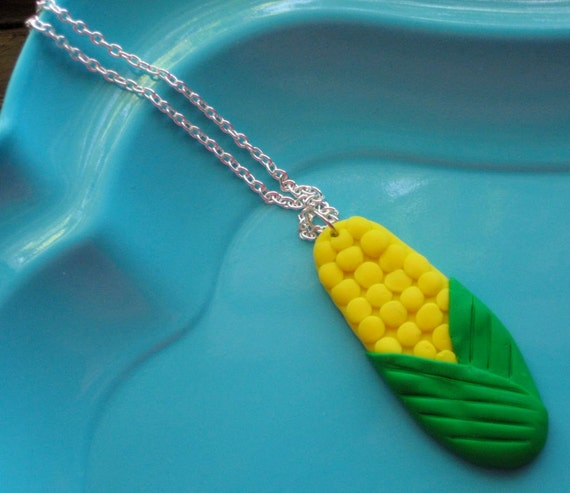 Polymer Clay Corn on the Cob Necklace