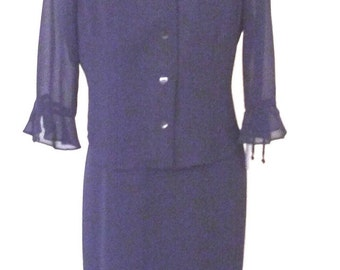Sale Vintage  with Tag  Sheer Crepe Chiffon Two piece Dress and Jacket Midnight Blue