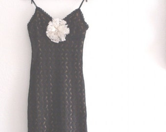 Black Friday Sale Romantic Little Black Crochet Slip Dress
