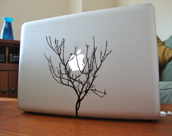 winter apricot tree apple moon laptop DECAL- macbook iPad computer- nature  vinyl sticker