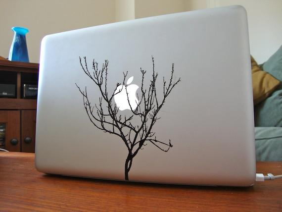 winter apricot tree apple moon laptop DECAL- macbook iPad computer- nature  vinyl sticker