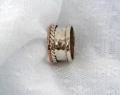 Sterling silver spinner ring. Gold spinner ring. Mix spinner ring. Wide spinner ring. (gsr-7008). unisex spinner ring, birthday gift ideas