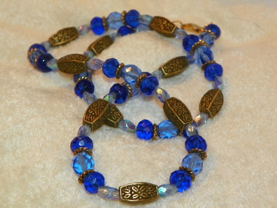Antique Bronze Necklace beaded necklace glass and metal necklace two tone necklace shades of blue necklace 20 inch necklace