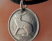 IRELAND rabbit Coin necklace - pendant charm - irish bunny Celtic Music Harp Eire Hare. CHOOSE YEAR birth year  anniversary year  No.00925