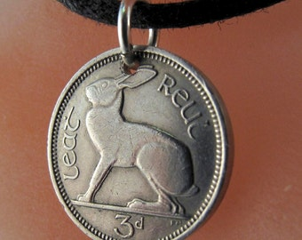Coin Jewelry - IRISH  CHARM -   Ireland rabbit -  Ireland coin necklace - rabbit necklace - choose year No.00925