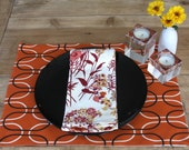 LAST SET available in this STYLE - Harvest Placemats - Orange with Black and White Ovals - Set of 4