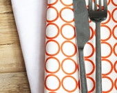 Fabric Napkins - AS SEEN IN Parenting magazine (April 2012) Orange Circles on White - Set of 4 Reversible Cloth