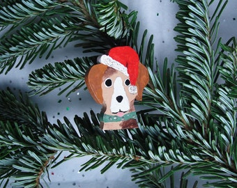 wood dog ornament, christmas, holiday, sparkle, hand painted, decoration