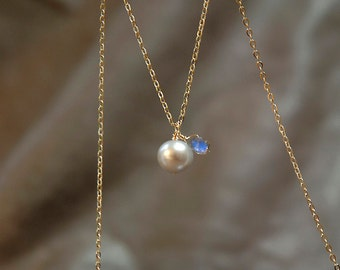 pearl necklace with gemstone, gold necklace, delicate jewelry for bridal or everyday, pearl necklace, labradorite necklace, june birthstone