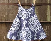 piper jane's reversible pinafore - woodcut gold & blue - 18 - 24 mo, 2T, 3T, 4T or 5T