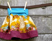 girls skirt, made to order sizes 6 months to 10 years - sophie's yoga-top skirt in gold lovesme & raspberry linen