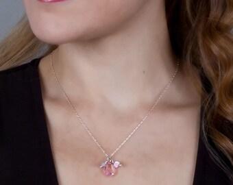 Crystal Necklace, Pink Necklace, Silver Crystal Necklace, Bridal Necklace, Charm Necklace, Bridesmaid Gift, Swarovski Necklace Baroque