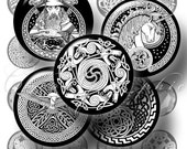 Celtic Tattoo Designs - 1 inch,  25mm, 16mm and 12mm circles - Digital Collage Sheets CG-113 for pendants, cabochons, bottle caps, crafts