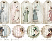 Jane Austen Quotations - A Collection of Tags and Medallions - Regency - Printable Download - Digital Scan