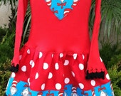 Cat in the Hat  Heart Dress Long Sleeve Available  Size 4- 6/8