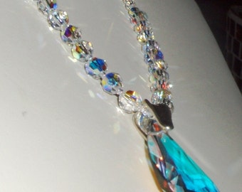 SALE! AB Swarovski Crystal Necklace and Drop Pendant - Long