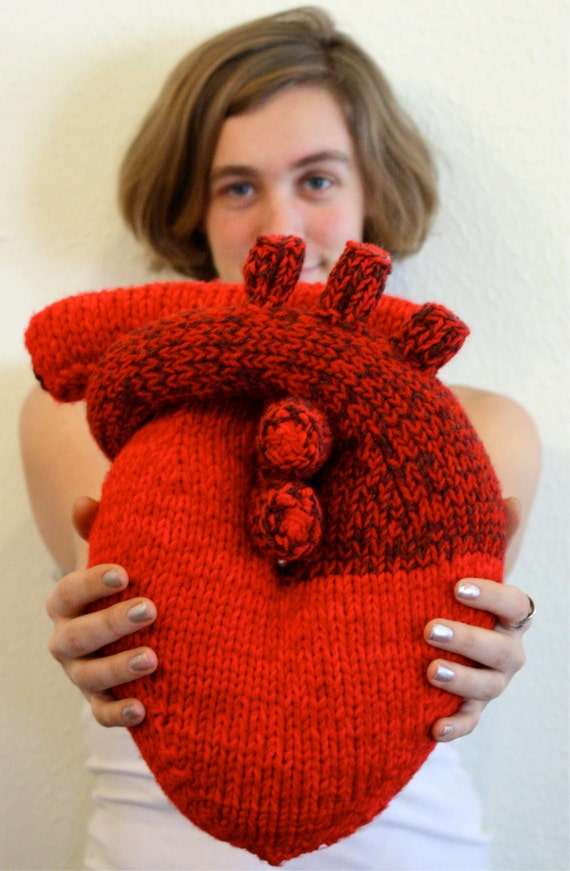 "Hand knit ""I give you my heart"" Pillow - Anatomical Heart - Nerd Gift"