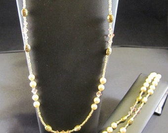 Warm Creamy & Golden Delight Pearl Necklace, Bracelet and Earrings 3-pc. Set