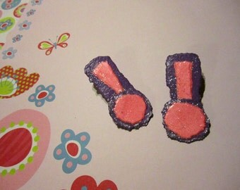 Bright Pink & Purple Sparkly Paper Exclamation Point Post Earrings