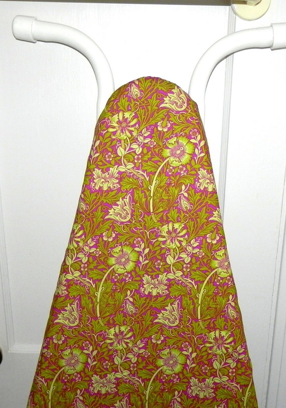 Ironing Board Cover - Floral fabric in olive green, cream and pink