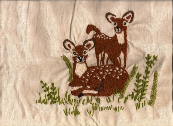 Embroidered Linen, Doe and Fawn, Crewel Embroidery, Pillow Front, Art Work