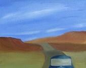 Mini Cooper art Road Trip ACEO 2.5x3.5 print