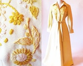 60s Vintage Couture, Yellow Maxi Dress, Bud Kilpatrick , Embroidered Coat Dress
