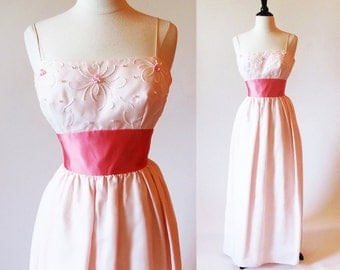 Vintage 60s Pink Gown, Long Beaded Dress, Spaghetti Strap Dress, Pink Prom Dress