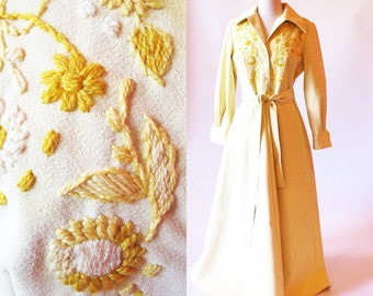 Vintage Couture, 60s Yellow Maxi Dress, Designer Bud Kilpatrick, Embroidered Coat Dress, Rare Vintage, Ultra Suede Coat
