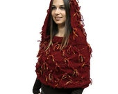 Knitted cape, Red cape, hooded cape, Cape with Hood, funky red sweater capelet shawl shrug, spring, autumn, by Solandia