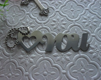 Metal Gift Tag with Chain Love You Heart You