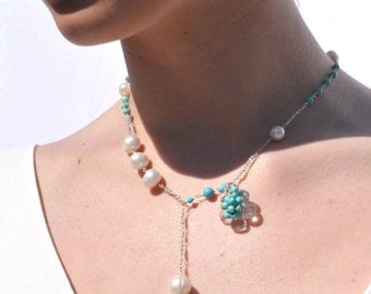 Turquoise and Pearl Necklace, Turquoise Tassel Necklace, Tassel Jewelry, Wedding Jewelry, Bridal Jewelry Ideas, Custom Bridal Jewelry Design