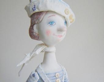"""Art Doll """"Awaiting on the beach"""" OOAK. Mixed Media Sculpture."""