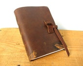 Leather journal with brand marks, handbound rustic leather journal, the Chunkie Lee