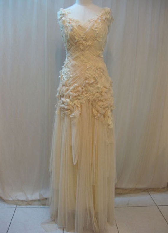 Custom Made Hand-embroidered Whimsical Wedding Crisscross Long Dress