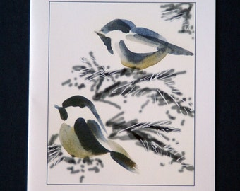 Two Chickadees -  Set of 5 blank cards