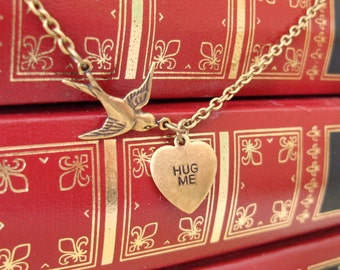 Swallow Bird Heart Necklace - Valentine Love gift for her