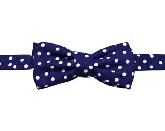 Navy blue polka dots bow tie, valentine's bowtie