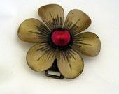 Vintage Flower Brass Buckle - Convertible Pendant - Steam Punk Repurposing Accessory