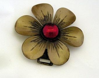 Vintage Red Glass Cabochon Buttons, Cuff Link & Flower Brass Convertible Pendant Buckle - Antique Garnet Steam Punk Repurposing Accessories