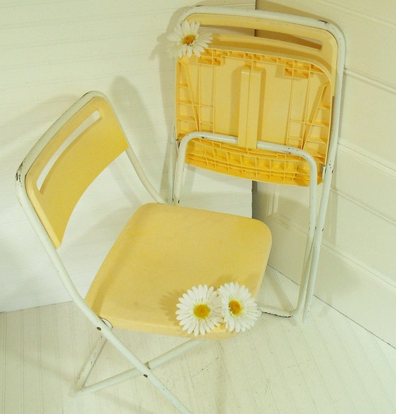 Yellow Plastic with White Enamel Metal Folding Chairs Set of 2 - Vintage Early Cosco Injection Molded Technology - BoHo Pair of Seats