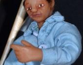 "Dollhouse Miniature Doll - 1/12 Scale Man - Handmade OOAK Polymer Clay - Posable - ""Clayton Thomas Fitzlittle"""