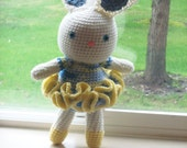 14 inch Ballerina Bunny - Spring Yellow and Light Blue Accents - Large Bright Eyed Amigurumi Bunny Doll Perfect for Easter