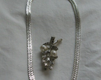 Lower Price!! Vintage Faux Pearl and Rhinestone Sprig Brooch with Silver Napier Flat Chevron Necklace