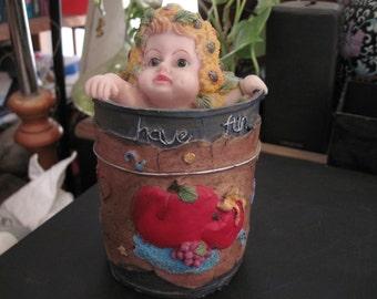 Adorable Vintage Hand-Painted Little Girl Saving Bank