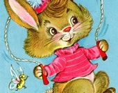 Child Birthday Card Bunny Rabbit For Three/ 3 Year Old 1960's Vintage