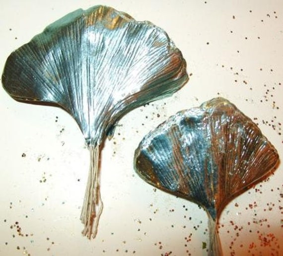 Spring Wreath Paper Crafts Metallic Powder BLUE Ginkgo Leaves Corsage Foil Art Supplies